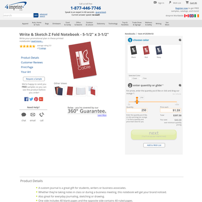 """Stationery   Notebooks   Write & Sketch Z Fold Notebook - 5-1/2"""" x 3-1/2"""" (Item No. 125394-53) from only $1.05 ready to be imprinted by 4imprint Promotional Products"""