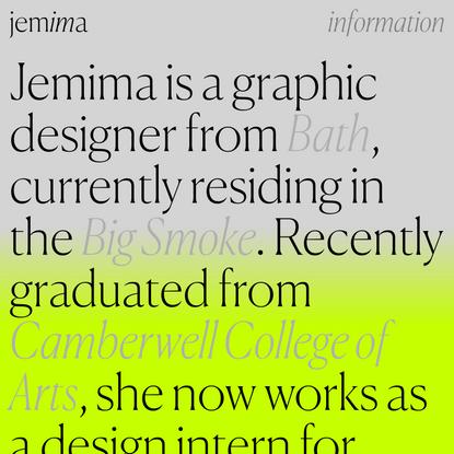 Info — Jemima — Graphic Designer