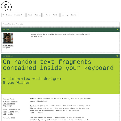 Bryce Wilner on random text fragments contained inside your keyboard