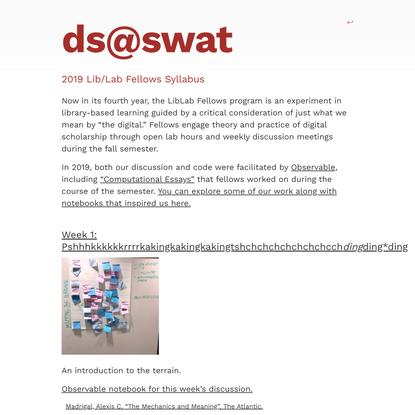 2019 Lib/Lab Fellows Syllabus