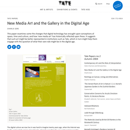 New Media Art and the Gallery in the Digital Age – Tate Papers | Tate