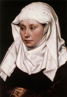 A wimple as shown in Portrait of a Woman, circa 1430-1435, by Robert Campin (1375/1379–1444), National Gallery, London. The cloth is 4-ply and the pins holding it in place are visible at the top of the head.