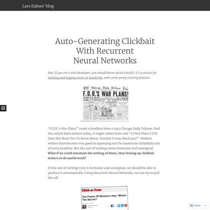 Auto-Generating Clickbait With Recurrent Neural Networks