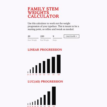 Family Stem Weights Calculator — Diacritics Club