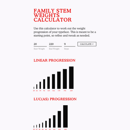 Family Stem Weights Calculator — Diacritics Club
