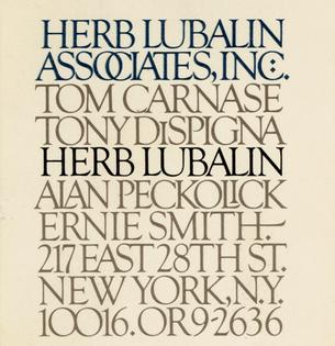 1978–1980, Herb Lubalin Associates, Inc.