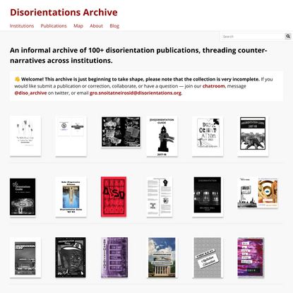Welcome · Disorientations Archive · Disorientations
