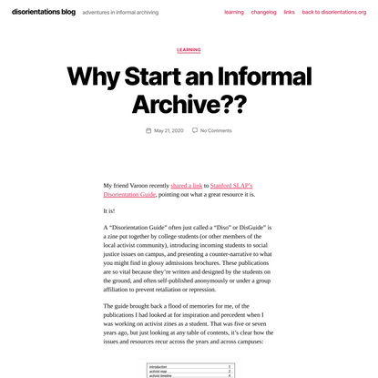 Why Start an Informal Archive?? – disorientations blog