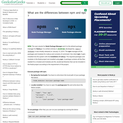 What are the differences between npm and npx ? - GeeksforGeeks