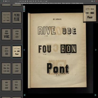 Fabrication mécanique de caractères en bois pour la fabrication des lettres en bois debout : Album spécimen : à Ardon (Valai...