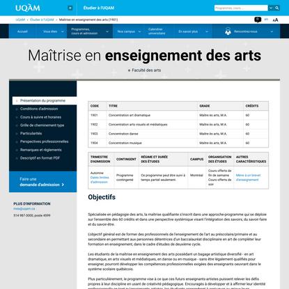 Maîtrise en enseignement des arts | UQAM | Université du Québec à Montréal