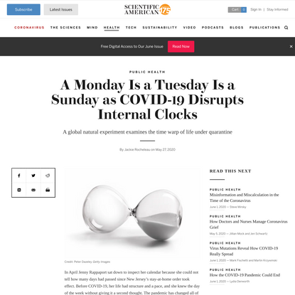 A Monday Is a Tuesday Is a Sunday as COVID-19 Disrupts Internal Clocks