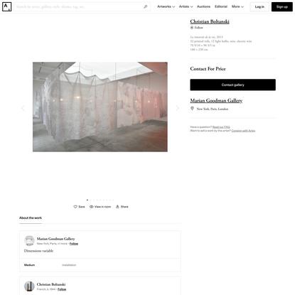 Christian Boltanski | La traversée de la vie (2015) | Available for Sale | Artsy