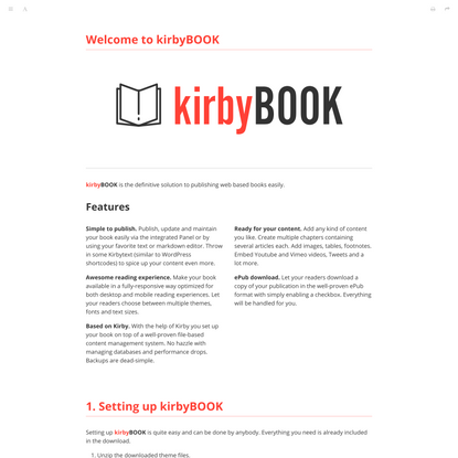 Printable | kirbyBOOK – Publish web based online books easily