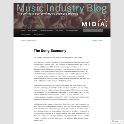 The Song Economy | Music Industry Blog