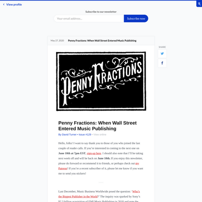 Penny Fractions: When Wall Street Entered Music Publishing | Revue