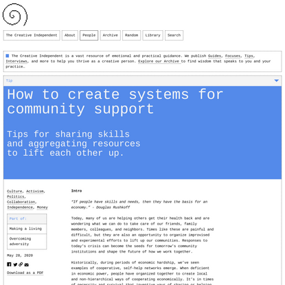 How to create systems for community support