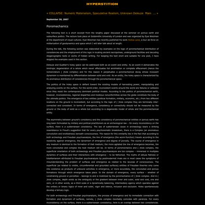 Hyperstition: Poromechanics