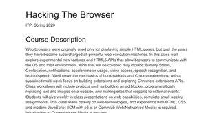 Hacking the Browser Syllabus 2020