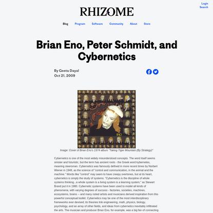 Brian Eno, Peter Schmidt, and Cybernetics - Geeta Dayal