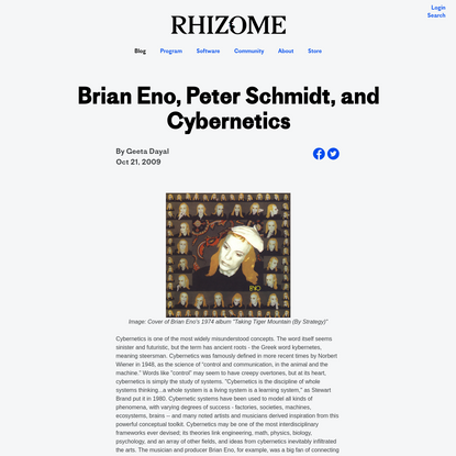 Brian Eno, Peter Schmidt, and Cybernetics - Geeta Dayal