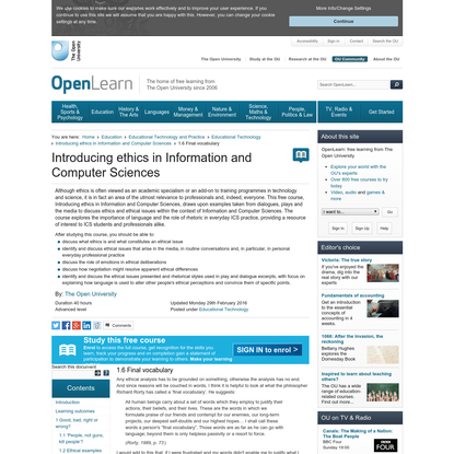 Introducing ethics in Information and Computer Sciences