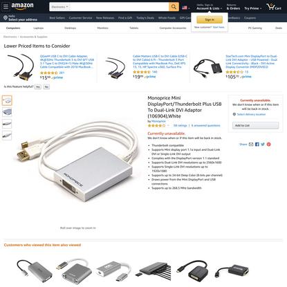 Monoprice Mini DisplayPort/Thunderbolt Plus USB To Dual-Link DVI Adaptor (106904),White