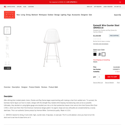 Eames® Wire Counter Stool - Design Within Reach