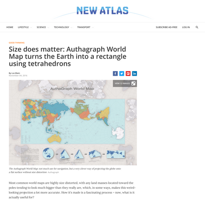 Size does matter: Authagraph World Map turns the Earth into a rectangle using tetrahedrons