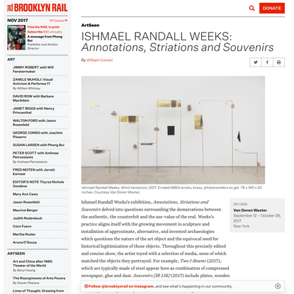 ISHMAEL RANDALL WEEKS: Annotations, Striations and Souvenirs – The Brooklyn Rail