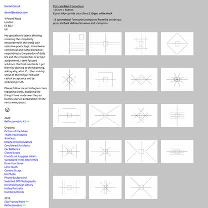 Postcard Back Formations : Daniel Eatock