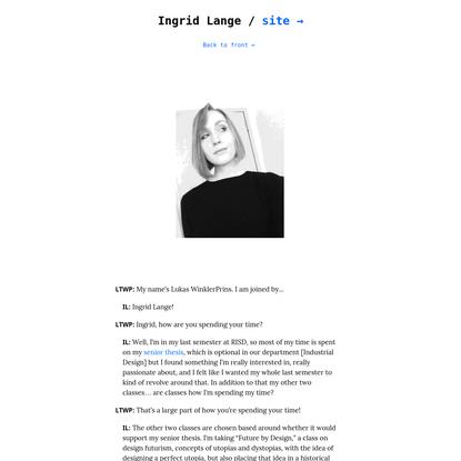 Ingrid Lange talks about...