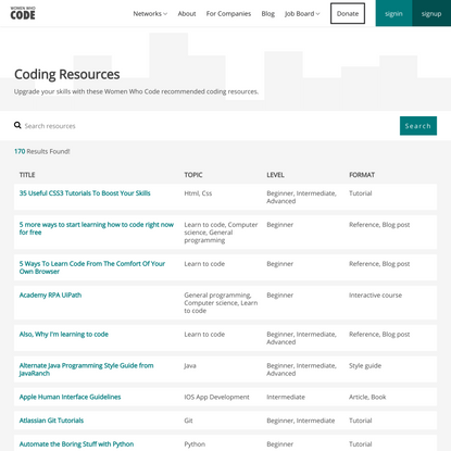 Women Who Code   Coding Resources