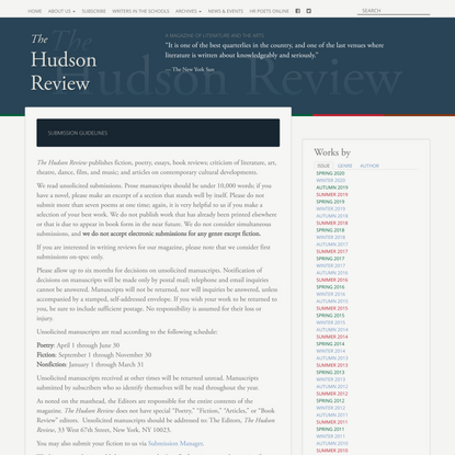 Submission Guidelines | The Hudson Review