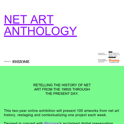 RHIZOME NET ART ANTHOLOGY