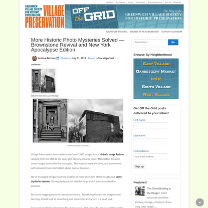 More Historic Photo Mysteries Solved - Brownstone Revival and New York Apocalypse Edition - GVSHP | Preservation | Off the Grid