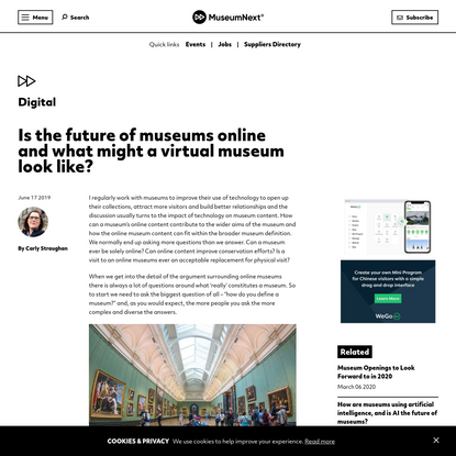 Is the future of museums online and what might a virtual museum look like? - MuseumNext