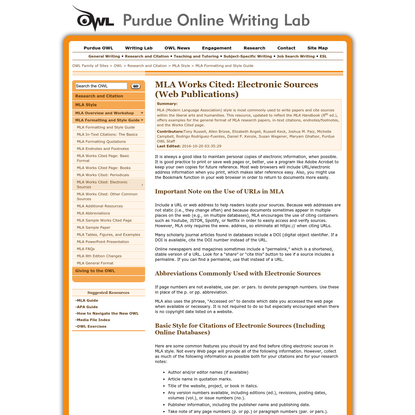 Purdue OWL: MLA Formatting and Style Guide