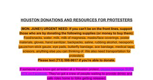 HOUSTON DONATIONS AND RESOURCES FOR PROTESTERS
