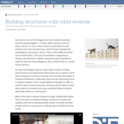 Building structures with robot swarms