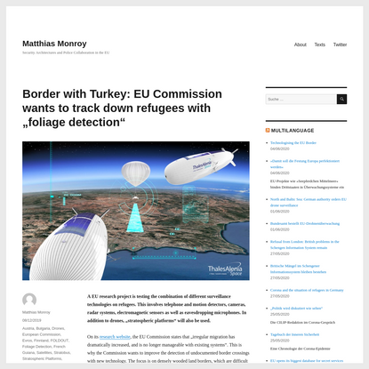 """Border with Turkey: EU Commission wants to track down refugees with """"foliage detection"""""""