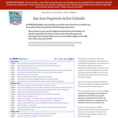 Action Calendar - ACTION TOGETHER BAY AREA