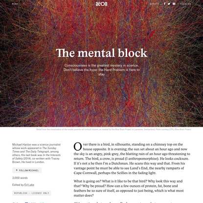 Will we ever get our heads round consciousness? - Michael Hanlon   Aeon Essays