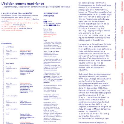 L'édition comme expérience