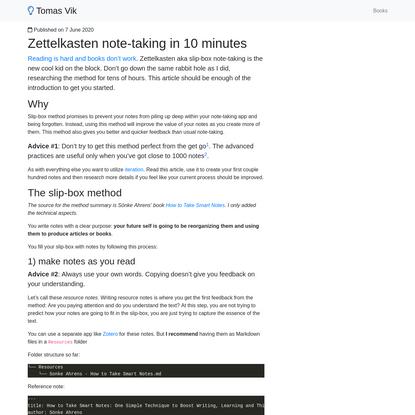 Zettelkasten note-taking in 10 minutes