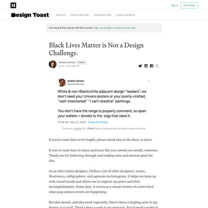 Black Lives Matter is Not a Design Challenge.