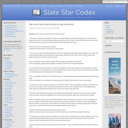 The Slate Star Codex Political Spectrum Quiz