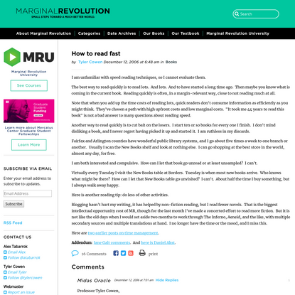 How to read fast - Marginal REVOLUTION