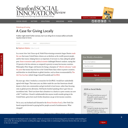 A Case for Giving Locally (SSIR)