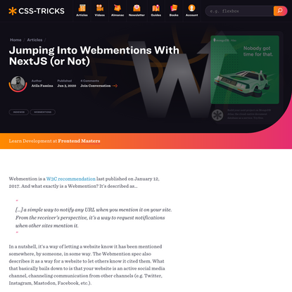 Jumping Into Webmentions With NextJS (or Not) | CSS-Tricks